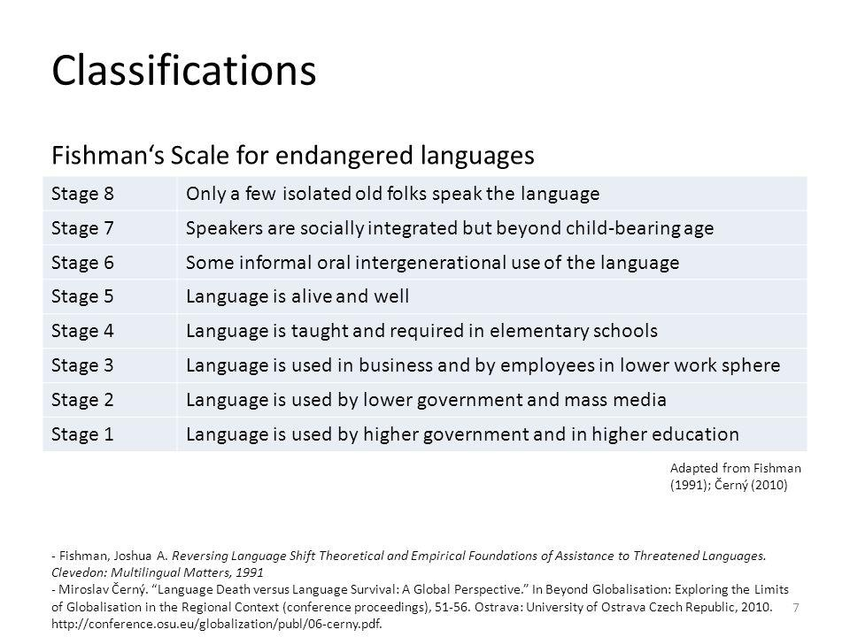 Classifications Fishman's Scale for endangered languages Stage 8