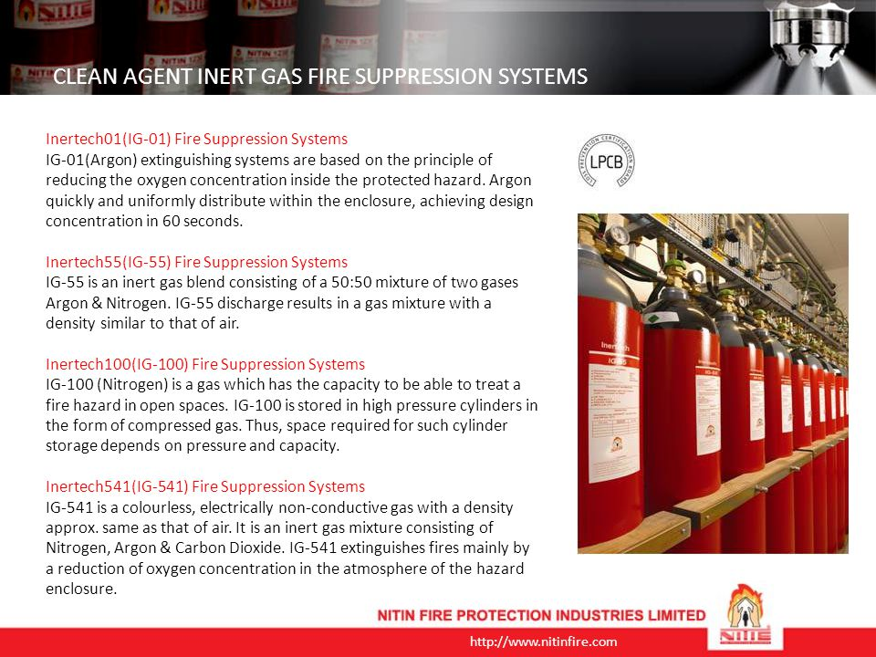 CLEAN AGENT INERT GAS FIRE SUPPRESSION SYSTEMS