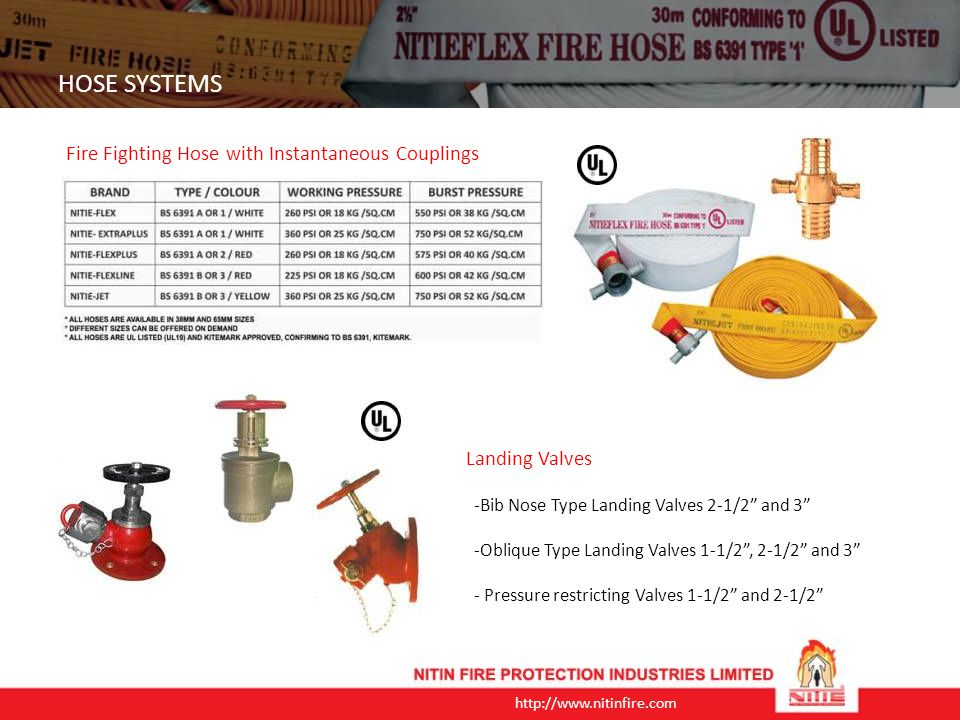 HOSE SYSTEMS Fire Fighting Hose with Instantaneous Couplings