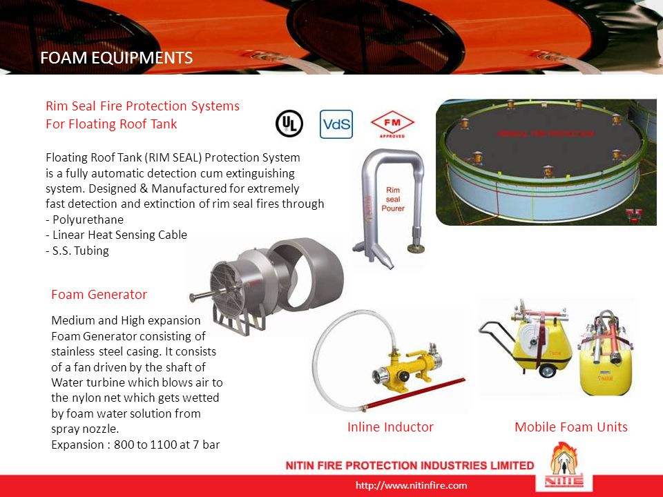 FOAM EQUIPMENTS Rim Seal Fire Protection Systems
