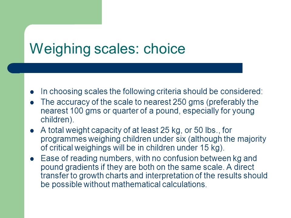 Weighing scales: choice