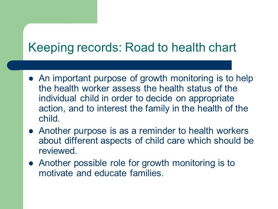 Keeping records: Road to health chart