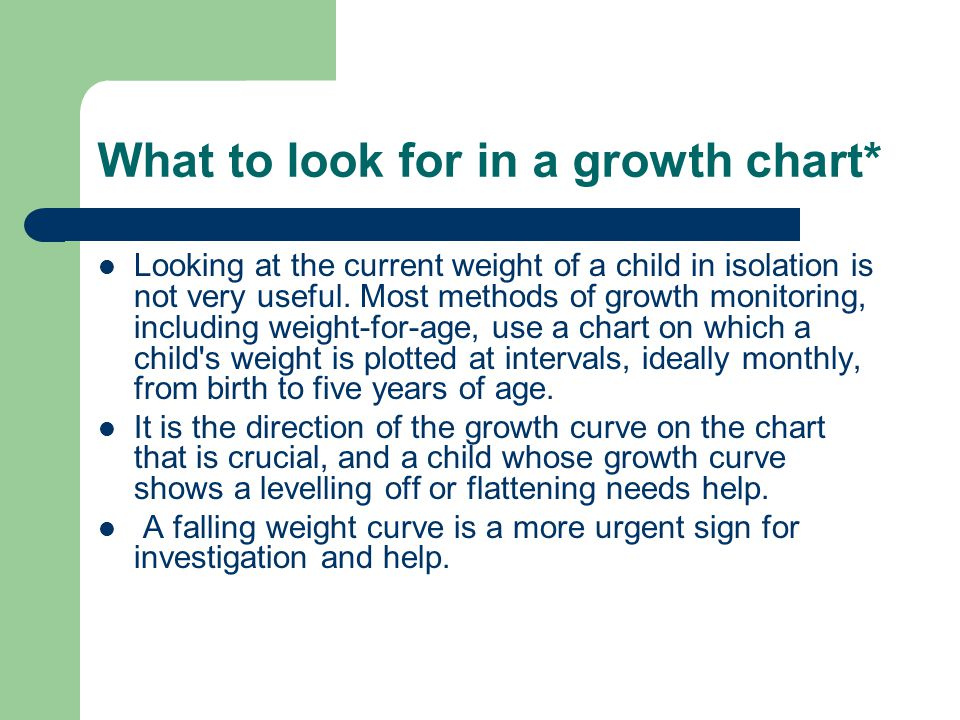 What to look for in a growth chart*