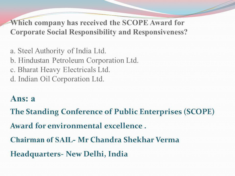 Which company has received the SCOPE Award for Corporate Social Responsibility and Responsiveness