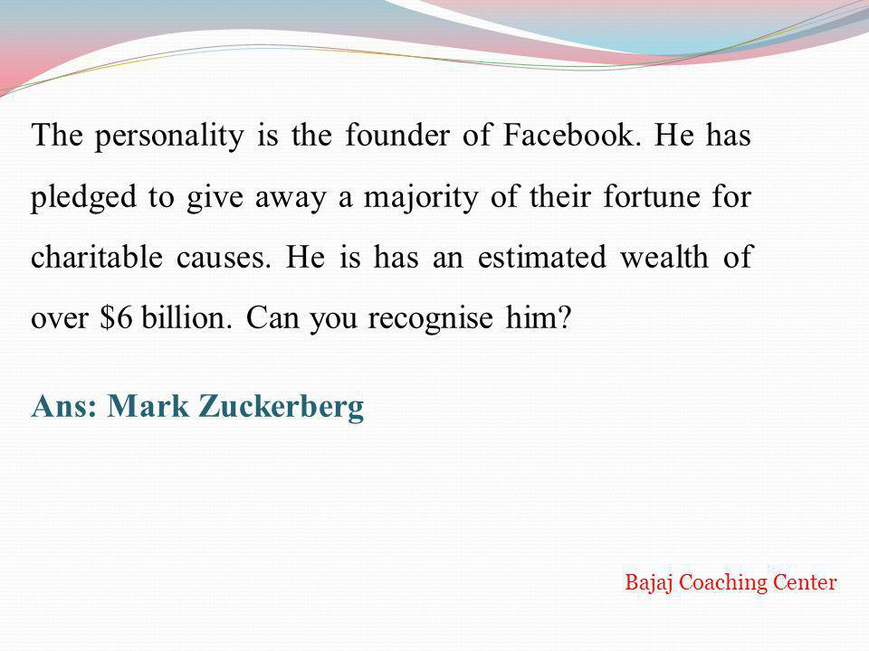 The personality is the founder of Facebook