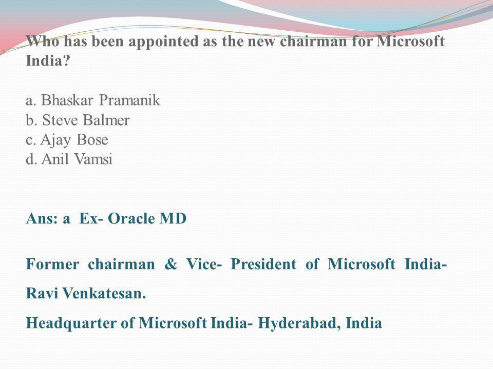 Who has been appointed as the new chairman for Microsoft India