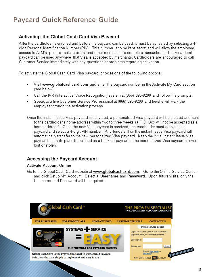 Paycard Quick Reference Guide