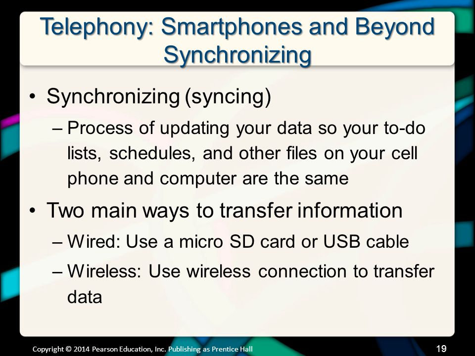Telephony: Smartphones and Beyond Synchronizing (cont.)