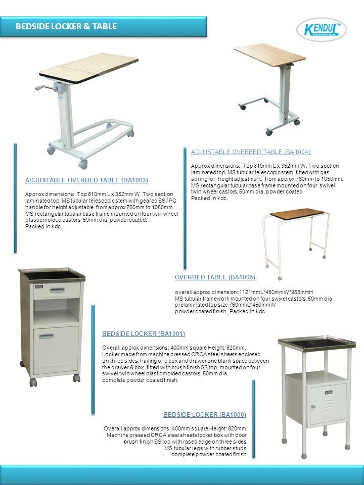 BEDSIDE LOCKER & TABLE ADJUSTABLE OVERBED TABLE (BA1004)