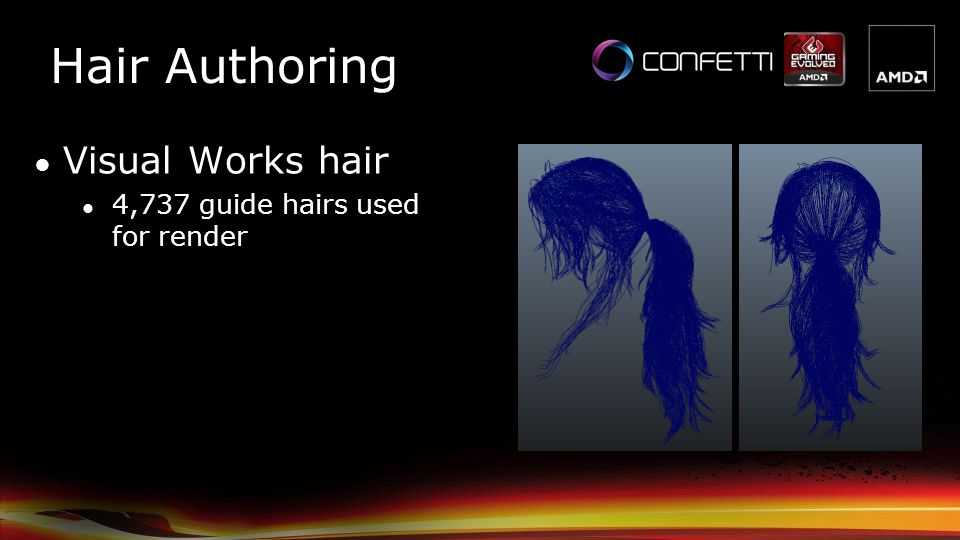 Hair Authoring Visual Works hair 4,737 guide hairs used for render