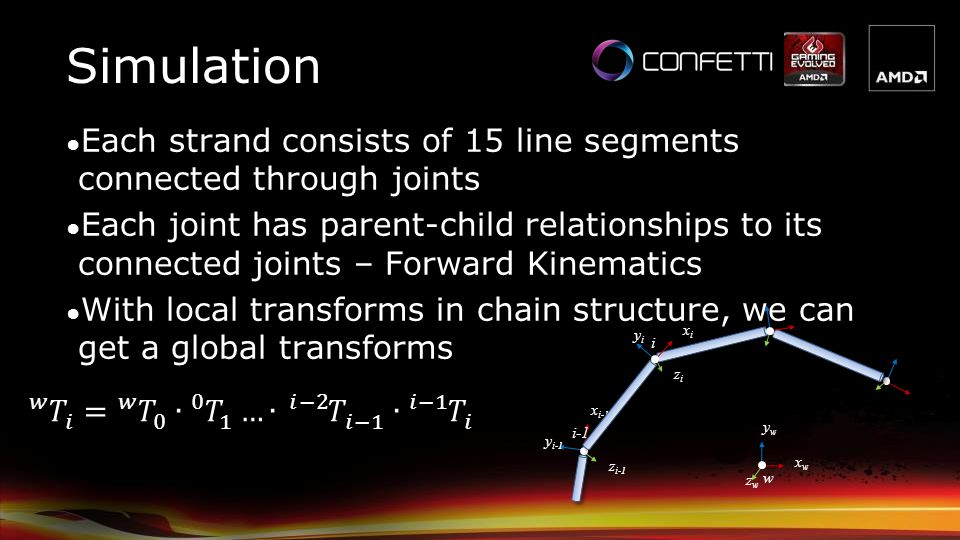 Simulation Each strand consists of 15 line segments connected through joints.