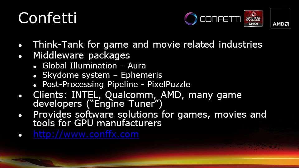 Confetti Think-Tank for game and movie related industries