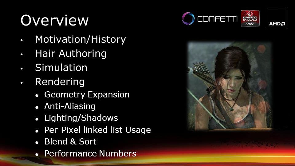 Overview Motivation/History Hair Authoring Simulation Rendering
