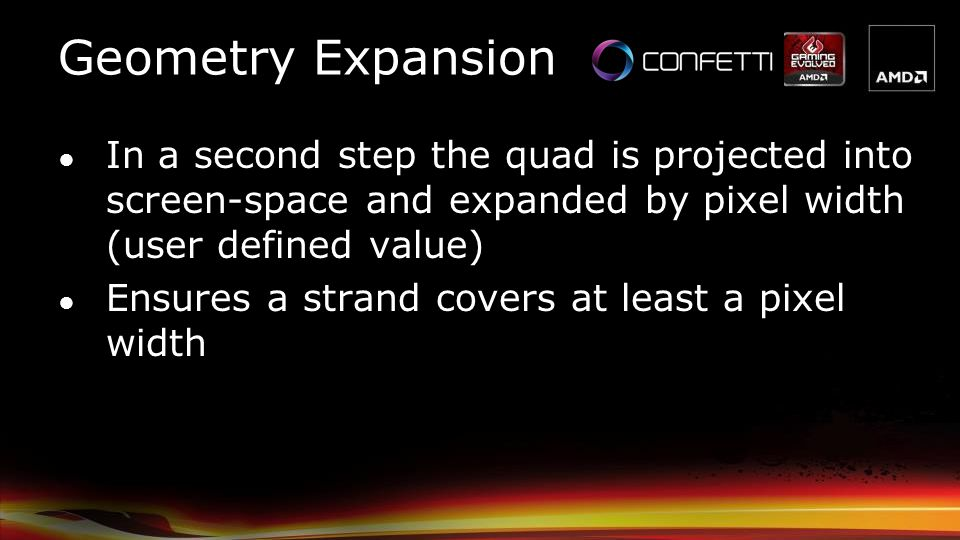 Geometry Expansion In a second step the quad is projected into screen-space and expanded by pixel width (user defined value)