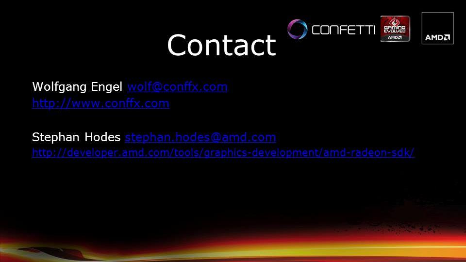 Contact Wolfgang Engel wolf@conffx.com http://www.conffx.com