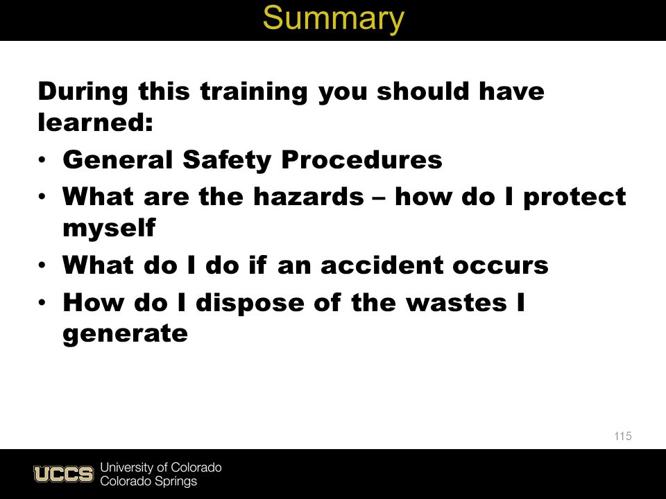 Live Green Summary During this training you should have learned: