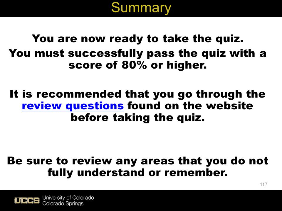 Live Green Summary You are now ready to take the quiz.