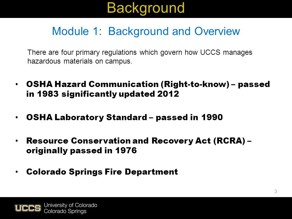 Module 1: Background and Overview