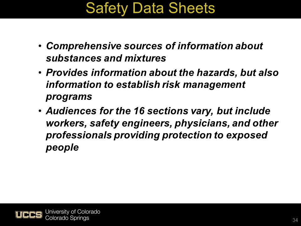 Safety Data Sheets Comprehensive sources of information about substances and mixtures.
