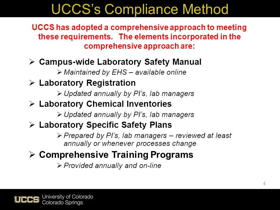UCCS's Compliance Method