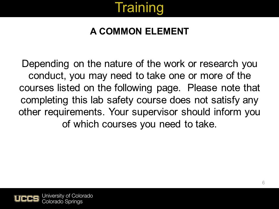 Training A COMMON ELEMENT.