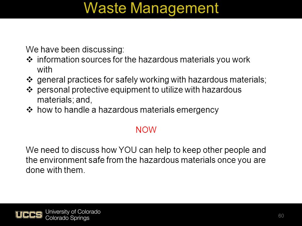 Waste Management We have been discussing: