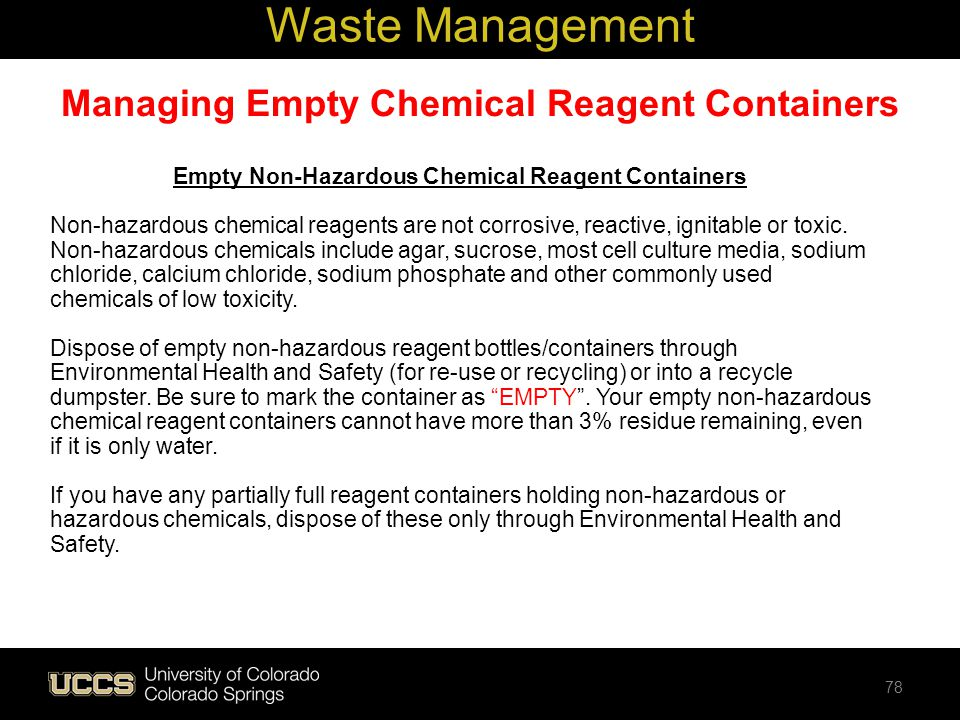 Managing Empty Chemical Reagent Containers