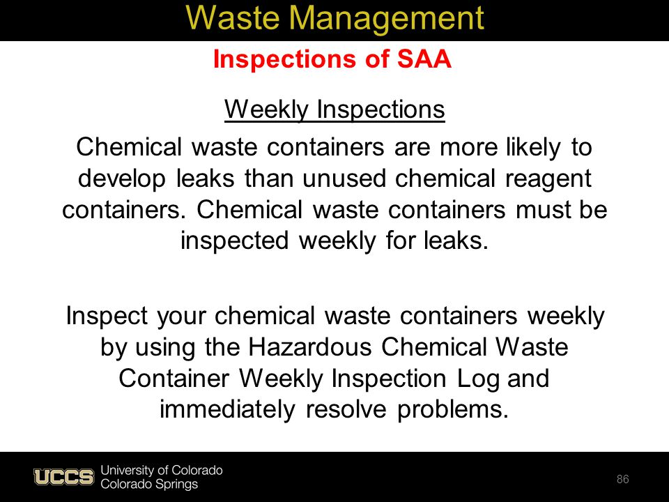 Waste Management Inspections of SAA Weekly Inspections