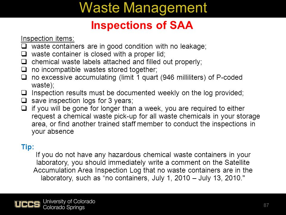 Waste Management Inspections of SAA Inspection items: