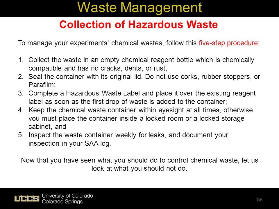 Collection of Hazardous Waste