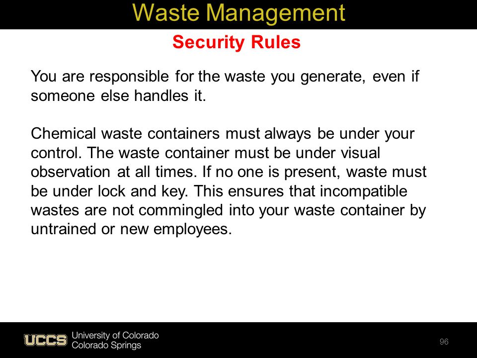 Waste Management Security Rules