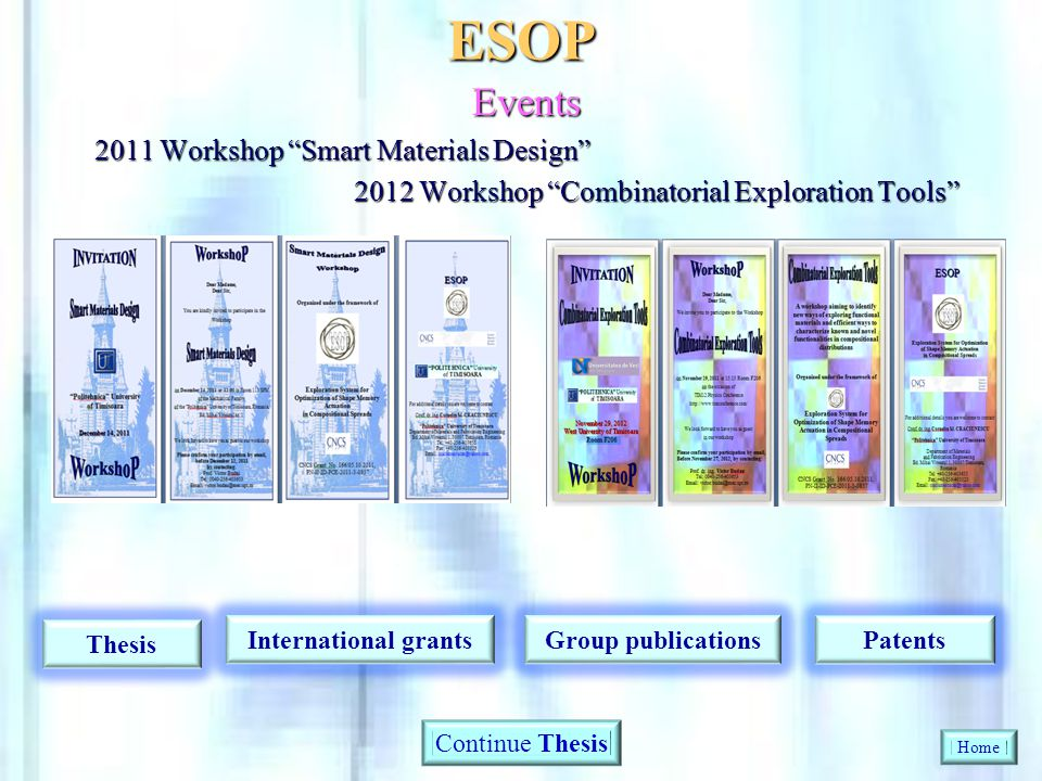 ESOP Events 2011 Workshop Smart Materials Design