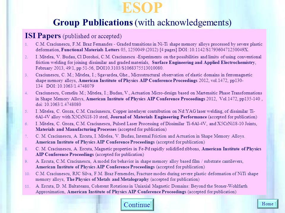 ESOP Group Publications (with acknowledgements)