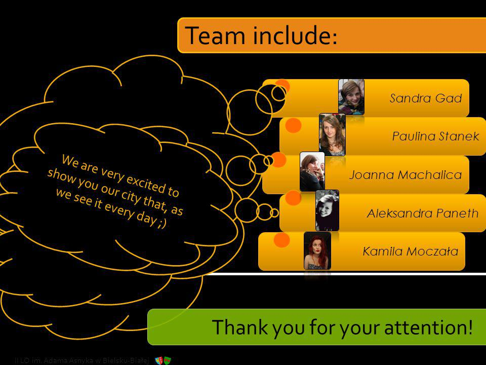 Team include: Thank you for your attention!
