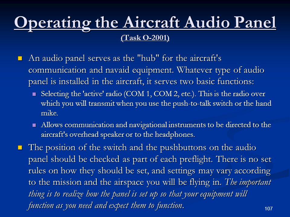 Operating the Aircraft Audio Panel (Task O-2001)