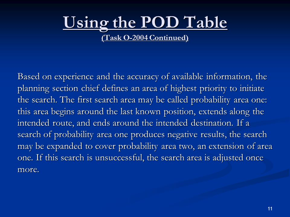 Using the POD Table (Task O-2004 Continued)