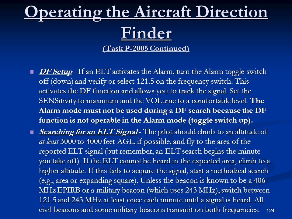 Operating the Aircraft Direction Finder (Task P-2005 Continued)
