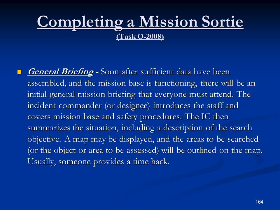 Completing a Mission Sortie (Task O-2008)