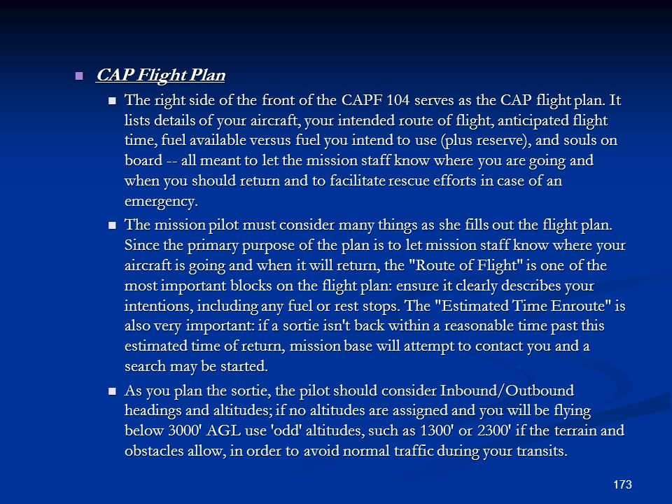 CAP Flight Plan