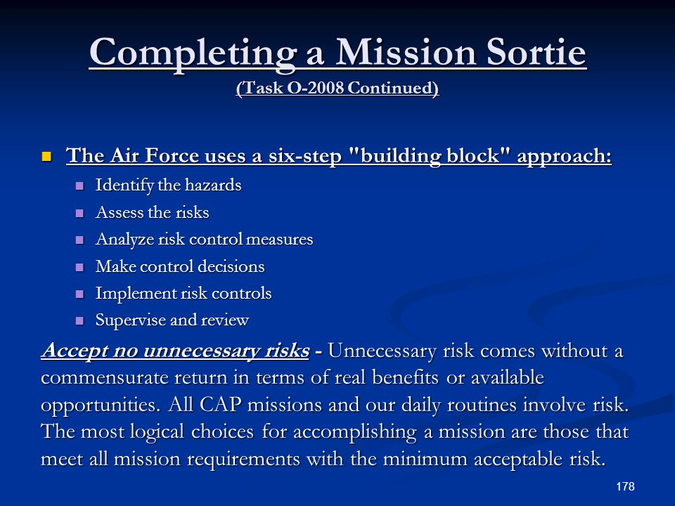 Completing a Mission Sortie (Task O-2008 Continued)