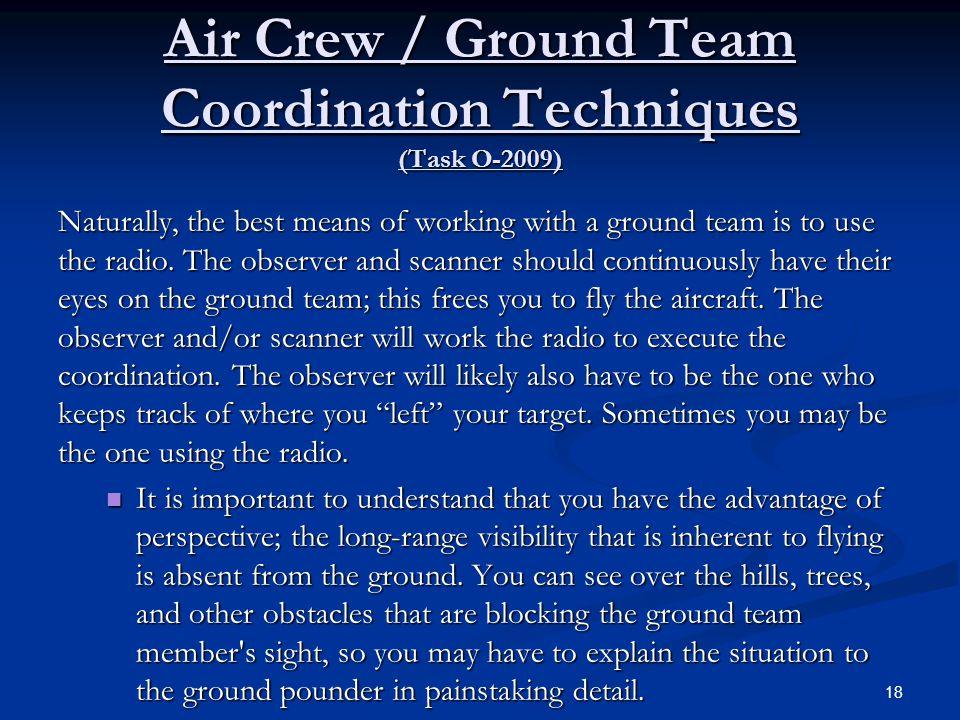 Air Crew / Ground Team Coordination Techniques (Task O-2009)