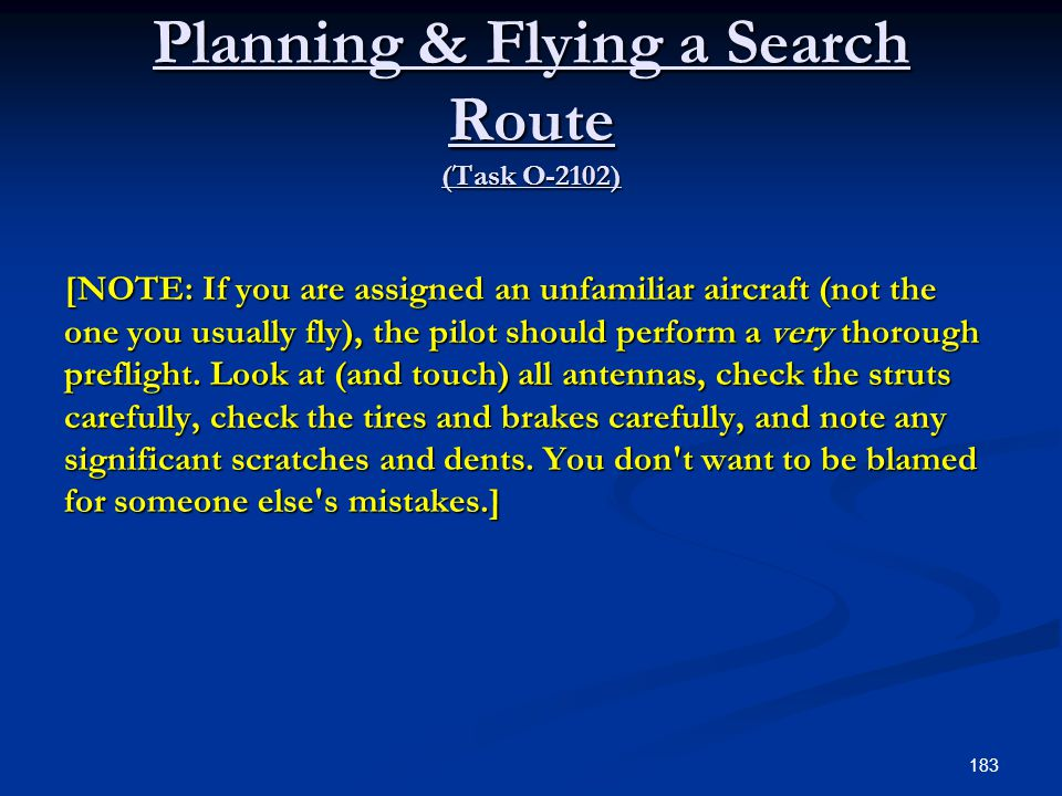 Planning & Flying a Search Route (Task O-2102)