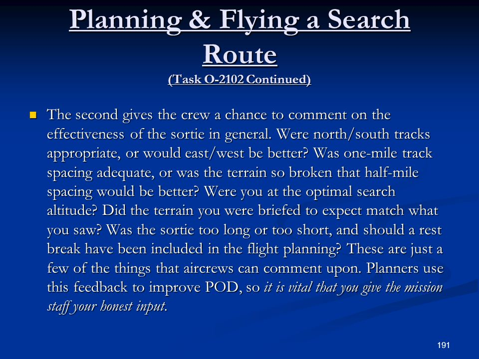 Planning & Flying a Search Route (Task O-2102 Continued)