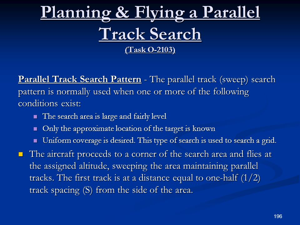 Planning & Flying a Parallel Track Search (Task O-2103)