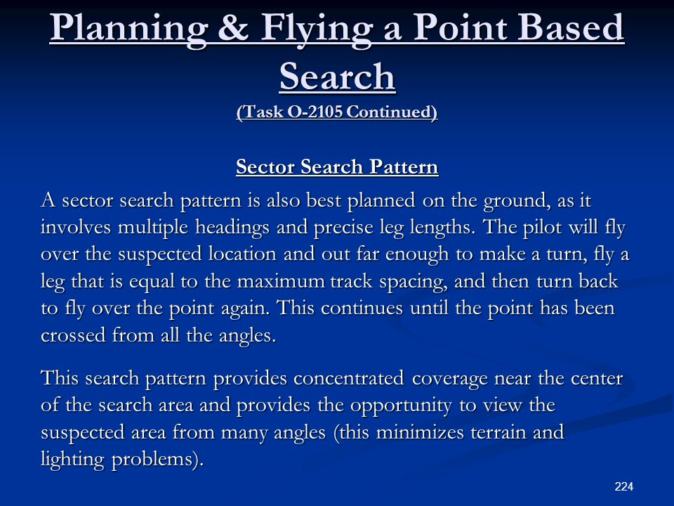 Planning & Flying a Point Based Search (Task O-2105 Continued)