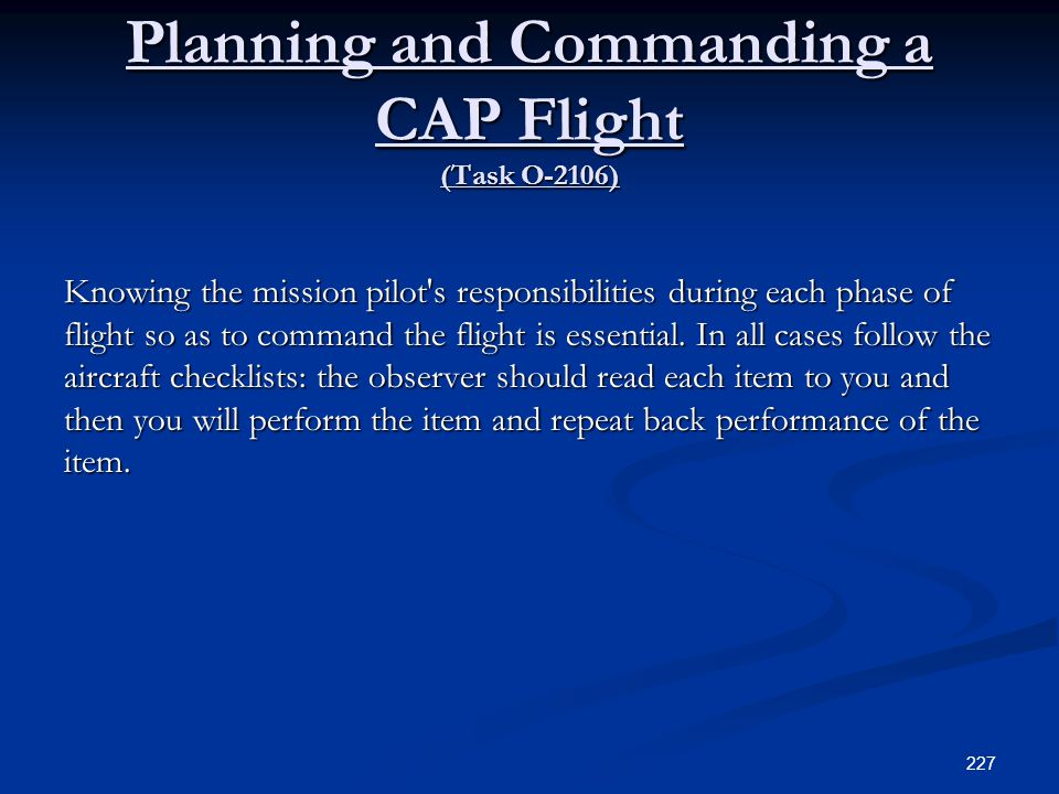 Planning and Commanding a CAP Flight (Task O-2106)