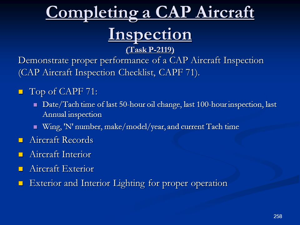 Completing a CAP Aircraft Inspection (Task P-2119)