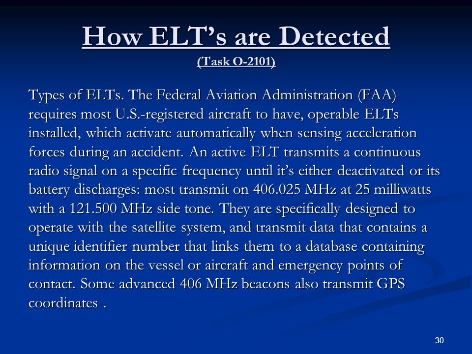 How ELT's are Detected (Task O-2101)