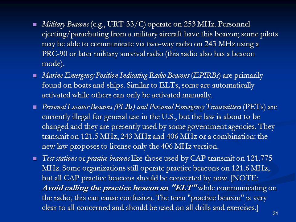 Military Beacons (e. g. , URT-33/C) operate on 253 MHz