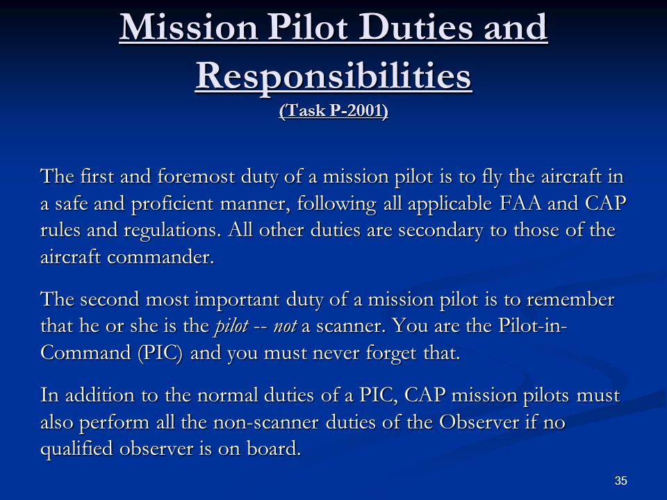 Mission Pilot Duties and Responsibilities (Task P-2001)